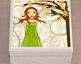 Whimsical Fantasy Redhead Girl Jewelry Box, Trinket Box, Gift Box