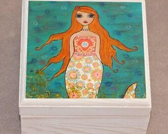 Whimsical Redhead Mermaid Jewelry Box, Trinket Box, Gift Box
