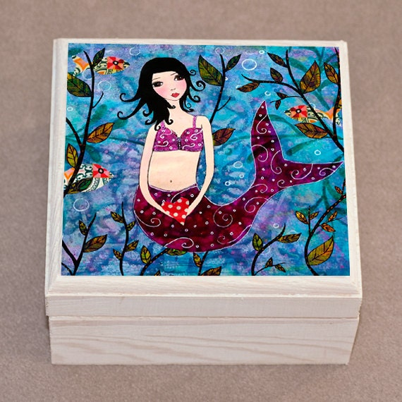 Little Mermaid Jewelry Box, Trinket Box, Jewelry Organizer, Mermaid Wooden Box