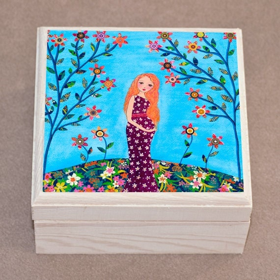 Mother And Baby Gift Box : Pregnant mother and baby jewelry box trinket gift