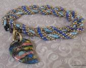 Rainbow Leaf Necklace Beadwoven Double Wrap Bracelet Boho Gypsy Carved Leaf Rainbow Stone
