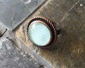 Alison (seafoam) - glass statement ring