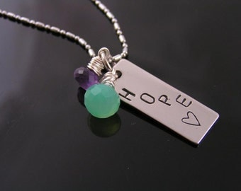 Chalcedony, Amethyst and 'HOPE' Handstamped Necklace, Handstamped Inspirational Necklace