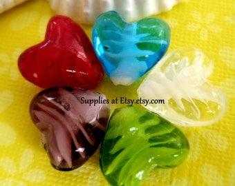 Heart bead pendant-Heart Beads-Lampwork heart  Glass focal bead-16mm red,blue,Purple,Green,White-Earring set beads-diy earrings-jewelry