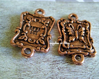 Special Sale-Butterfly tag Links-Chunky Antique red Copper Link-Chain Square Links 15mm x 25mm-Antique bronze Diy Earrings Links,components