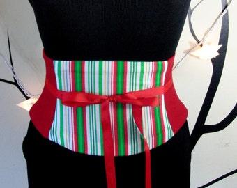 Candy Stripe Christmas Corset Belt Any Size Waist Cincher