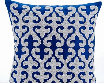 "Blue Throw Pillows Cover,  Square  Arabic Pattern Applique Turkish Pattern 16""x16"" Silk Pillow Covers - Blue Royale"