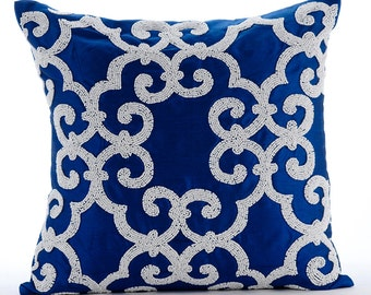 "Designer Blue Accent Pillows, 16""x16"" Silk Pillowcase, Square  Arabic Pattern Beaded Pillows Cover - Royal Arabic"