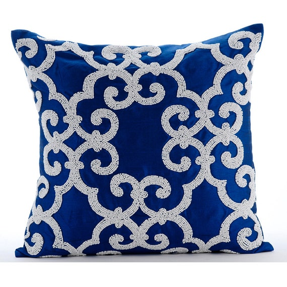 Decorative Pillows Blue : Designer Blue Accent Pillows 16x16 Silk