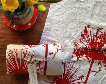 Agapanthus, Hand Printed, Flour Sack Tea Towels - Single Scarlet on Natural