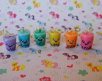 Rainbow Color Boba Milk Tea Charms - You Pick One, Miniature Food Jewelry