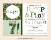 Camoflauge Jump and Play Bouncy Party Invitation - Camo Style - (Digital Printable File - Cardstock Cards Also Available)