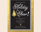 Holiday Cheer - Gold Black & White Stripe Christmas Party Invitation (Digital File OR Printed Cardstock Cards Are Available)