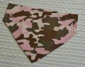 Pink Camo Dog Bandana in Over Dog Collar Style XS to XL