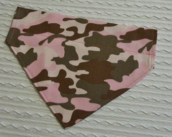 Pink Camo Dog Bandana in Over Dog Collar Style XS to XL