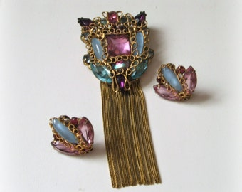 1940s Shield Pin & Earrings Pink Aqua glass stones, twisted wire filigree, tassels, unsigned