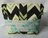 Cosmetic Bag, Zippered Pouch, Makeup Bag, Zipper Pouch, Toiletry Bag, Make up Bag Patchwork Nigela Ritzy Stripes, Handmade