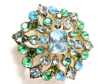 Vintage Liz Claiborne Snowflake Brooch Blue & Green