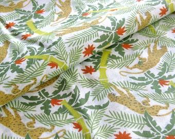 Vintage Jungle Safari Novelty Print Cotton Yardage - Cheetahs Bamboo Palm Trees