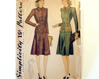 1942 Vintage Sewing Pattern - Misses Two Piece Suit - Swing Era - Simplicity 3963 / Size 14