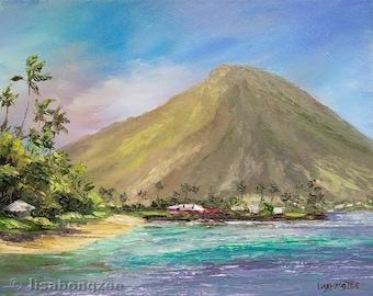 KOKO CRATER Framed Original Oil Painting 8x10 Art Tropical Hawaii Kai Hawaiian Paradise Island Ocean Beach Oahu Kawaikui Palm Tree KokoHead