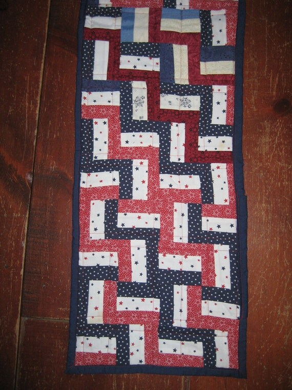 Quilted Table runner RWB calicoes Fence by ...