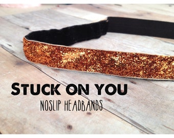 no slip | non slip | fitness headband | yoga headband | running headband | marathon | softball | glitter | sparkle | orange