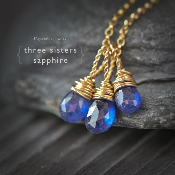 Three Sisters - Sapphire Wire Wrapped 14k Gold Filled Necklace, September Birthstone