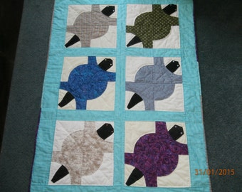 6 BLOCK TURTLE QUILT  For Lap Quilt or Wall Hanging Hand Quilted 46 x 32 inches Free Shipping