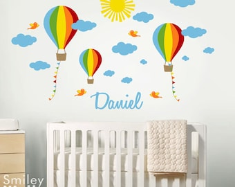 Hot Air Balloons Wall Decal Custom Name Decal Kids Nursery Wall Decal  Balloon Wall Decor Balloons Wall Decal Clouds Personalized