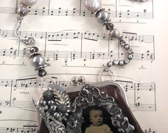 Tin Type Purse Necklace
