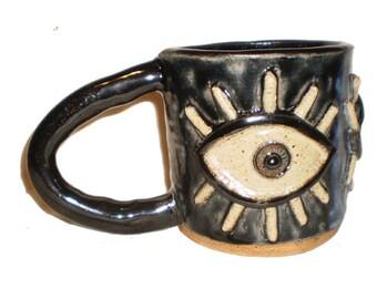 Eye Coffee Cup #37 - Ceramic Slab Mug With Large Molded Eyes and Eyelashes