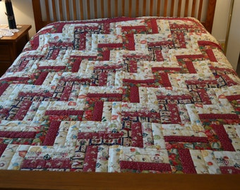 Hand Quilted Christmas Rail Fence Quilt