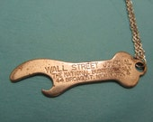 Rare Vintage Wall Street Journal Bottle Opener on Long Silver-Plated Chain