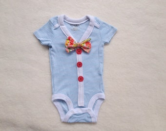 Dapper Baby Cardigan Onesie- 6 Months Blue Stripe-Photo Prop