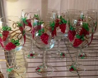 Grape Wine Glasses // Painted Wine Glasses // Grape Painted Stemware