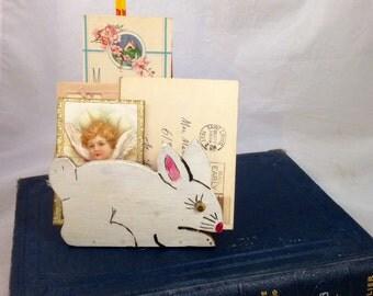 Wooden Folk Art Letter Holder and Pencil Holder Shaped Like a Rabbit