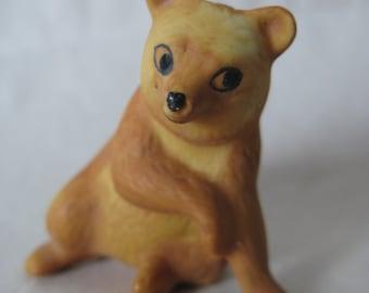 Bear Figurine Brown Porcelain Vintage Miniature