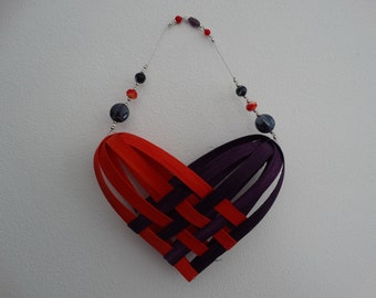 Hand Woven Basket in Purple and Tangerine with beaded handle. Heart basket. Basket. Gift basket. Heart. Hand Made baskets in fun colors.