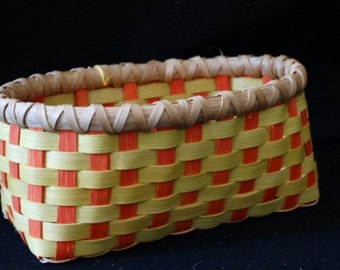 Basket. Hand Woven Basket in Chartreuse and Tangerine.  Storage Basket. Baskets.  Hand made baskets in fun colors!