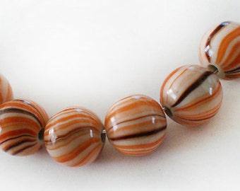 12pcs - 12mm Orange Brown line round acrylic beads