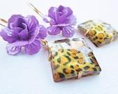 Handmade Purple Rose and Leopard Earrings