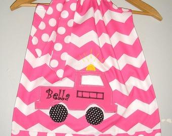 SALE Fire truck dress 15% off coupon is till2016  Pink Monogrammed Chevron pillowcase dress 3,6,9,12,18  month 2t, 3t, 4t, 5t,6.7,8, 0