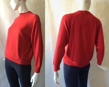Designer's Originals sweater top, classic mod cut with mock turtleneck, red, large petite (12 - 14)