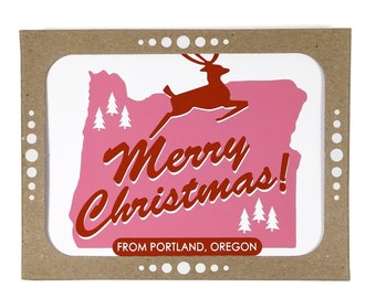 SALE -- Merry Christmas from Portland, Oregon -- Set of Six Fun Eco-friendly Holiday Cards