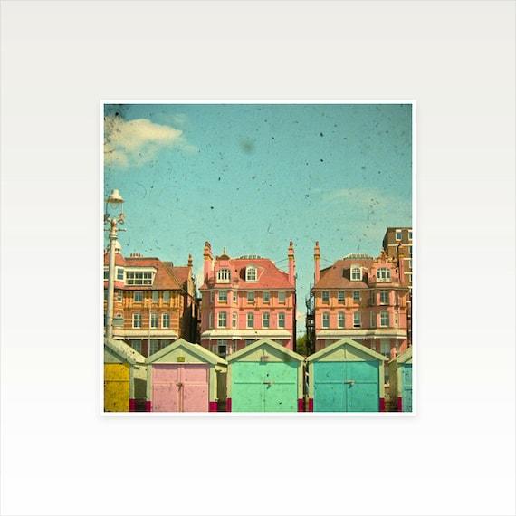 Architecture Photography, Beach Hut Art, Seaside, Colorful Decor, England, Turquoise, Building Art - Promenade