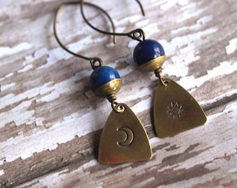 Sun and Moon Earrings, Lapis Lazuli Dangles, Stamped Gold Brass, Boho Bohemian, Tribal Design, Celestial, Astronomy, Gift Box