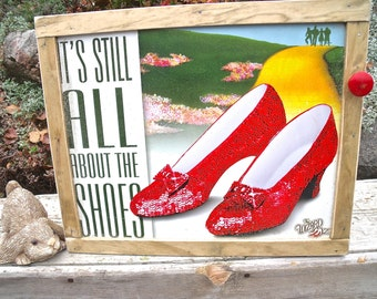 "TIN SIGN CABINET-WaLL storage-""It's Still All About The Shoes""-The Wizard of Oz-w/ hanging hardware & instructions included-""Love this sign"""