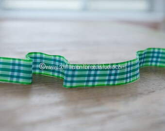 1 1/3 yards Green Plaid - Vintage Trim Fun New Old Stock Preppy 70s 80s