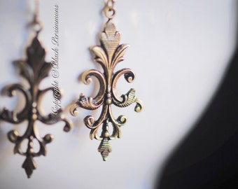 AMINA Earrings - American Made Antique Gold Plated Brass - Gold Filled Ear Wires - Free Domestic Shipping